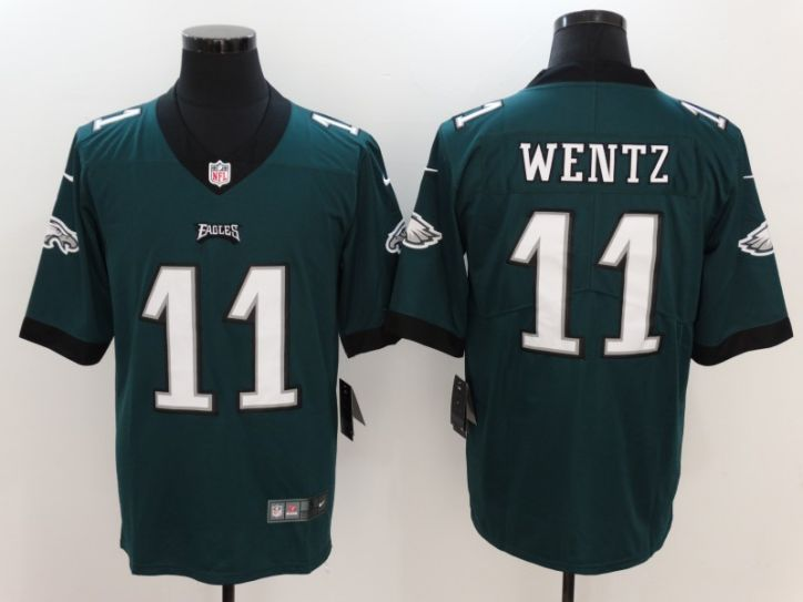 Men Philadelphia Eagles 11 Wentz Green Nike Vapor Untouchable Limited NFL Jersey