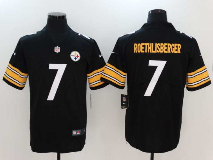 Men Pittsburgh Steelers 7 Roethlisberger Black Nike Vapor Untouchable Limited NFL Jerseys