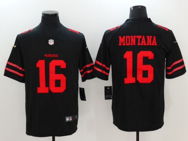 Men San Francisco 49ers 16 Montana Black Nike Vapor Untouchable Limited NFL Jerseys