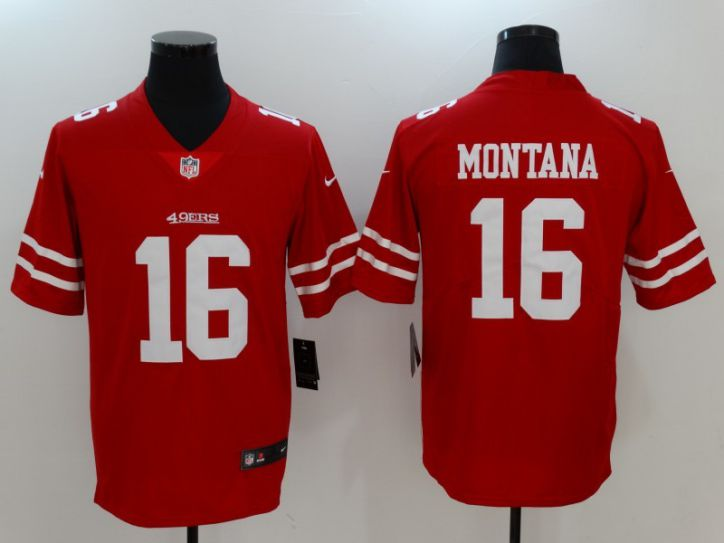 Men San Francisco 49ers 16 Montana Red Nike Vapor Untouchable Limited NFL Jerseys