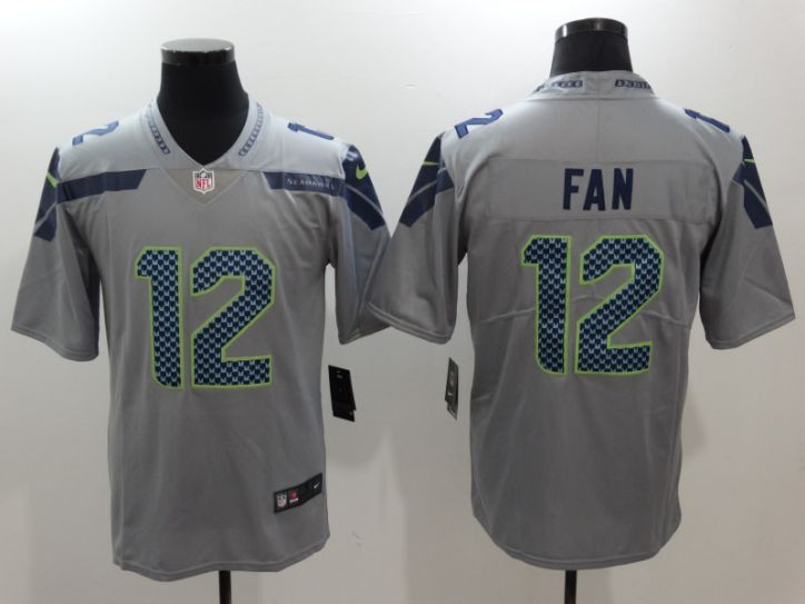 Men Seattle Seahawks 12 Fan Grey Nike Vapor Untouchable Limited NFL Jerseys
