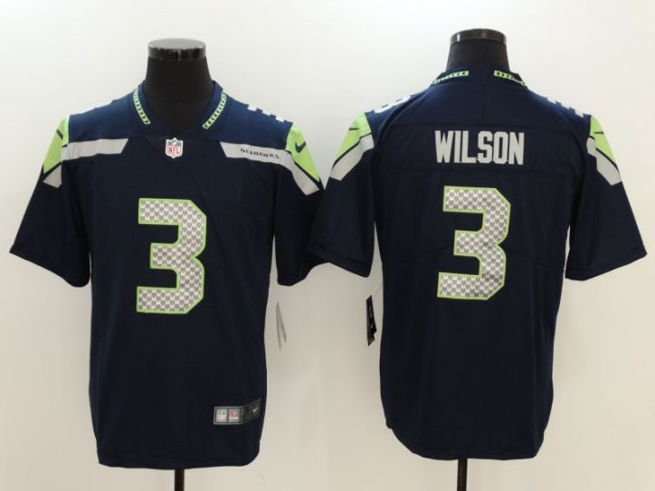 Men Seattle Seahawks 3 Wilson Blue Nike Vapor Untouchable Limited NFL Jersey