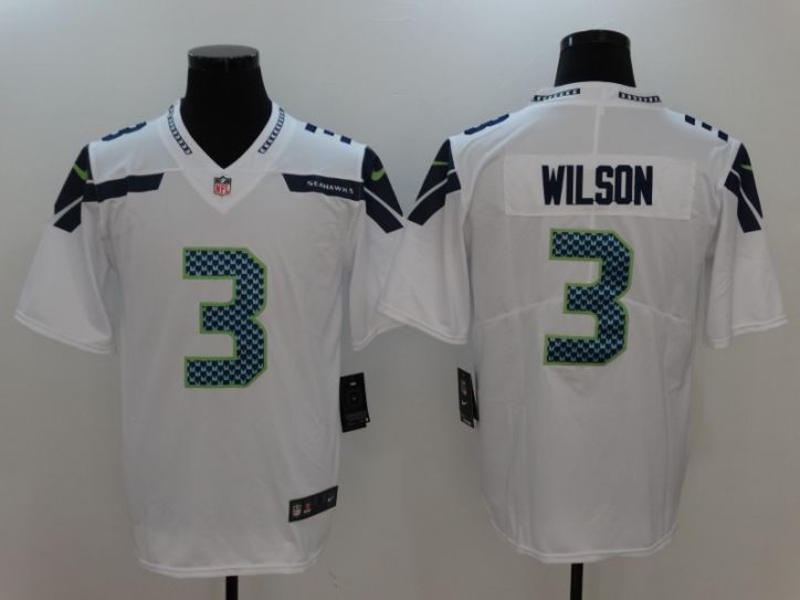 Men Seattle Seahawks 3 Wilson White Nike Vapor Untouchable Limited NFL Jersey