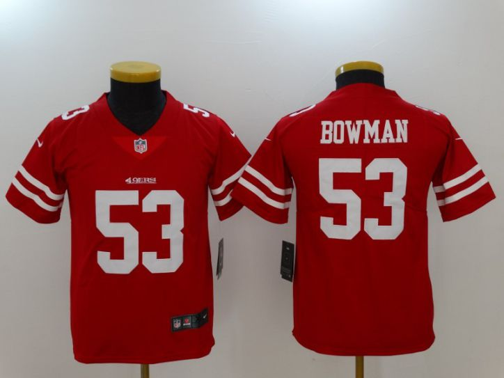 Men Youth San Francisco 49ers 53 Bowman Red Nike Vapor Untouchable Limited NFL Jersey