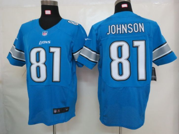NFL Detroit Lions 81 Johnson blue Elite Nike jerseys