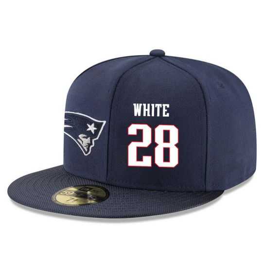New England Patriots 28 White Blue NFL Hat