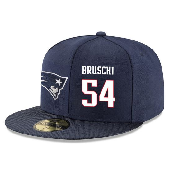 New England Patriots 54 Bruschi Blue NFL Hat