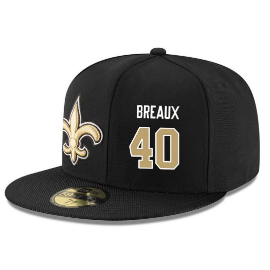New Orleans Saints 40 Breaux Black NFL Hat