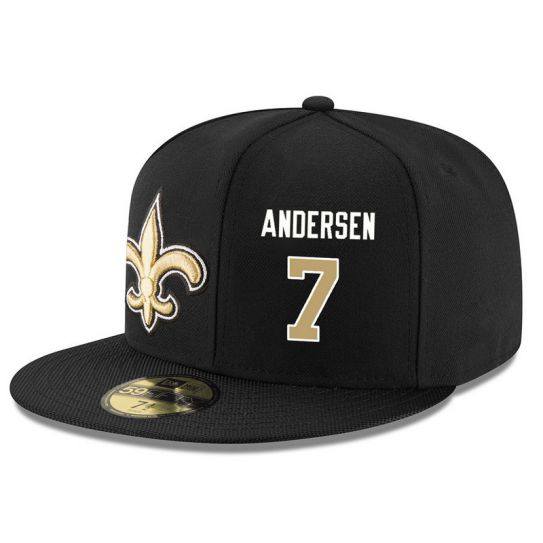 New Orleans Saints 7 Andersen Black NFL Hat