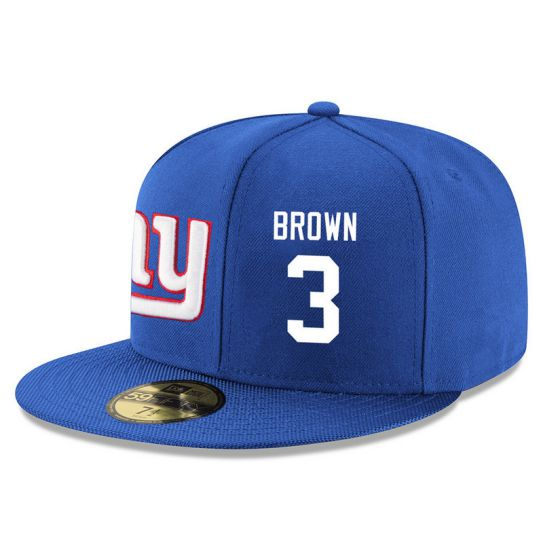 New York Giants 3 Brown Blue NFL Hat