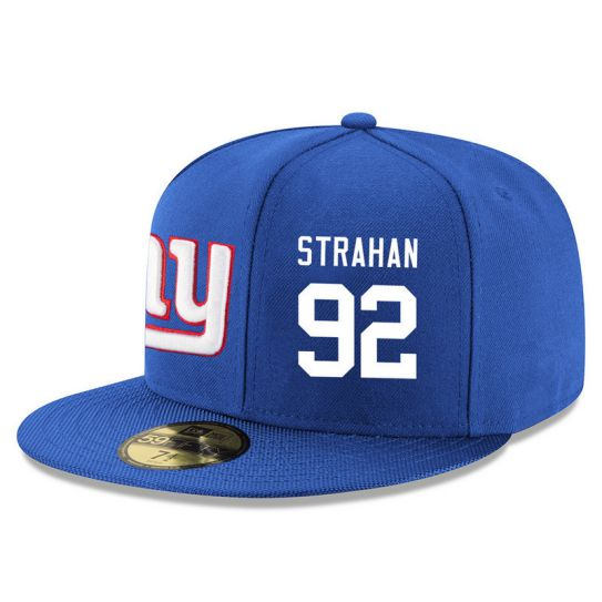 New York Giants 92 Strahan Blue NFL Hat