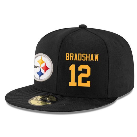 Pittsburgh Steelers 12 Bradshaw Black NFL Hat
