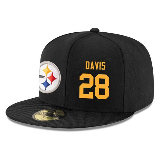 Pittsburgh Steelers 28 Davis Black NFL Hat