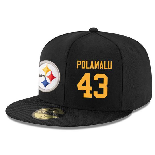 Pittsburgh Steelers 43 Polamalu Black NFL Hat