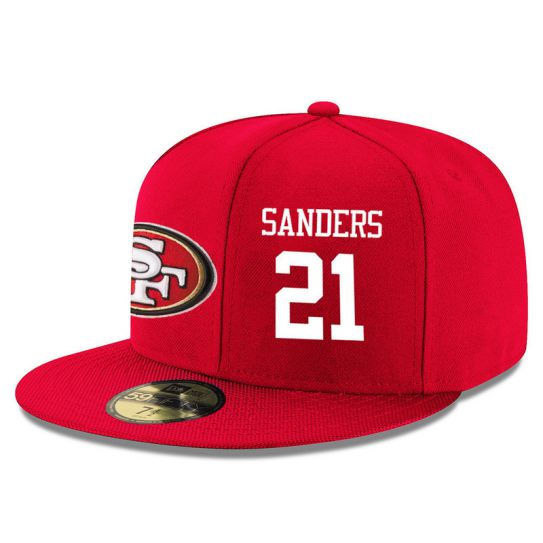 San Francisco 49ers 21 Sanders Red NFL Hat