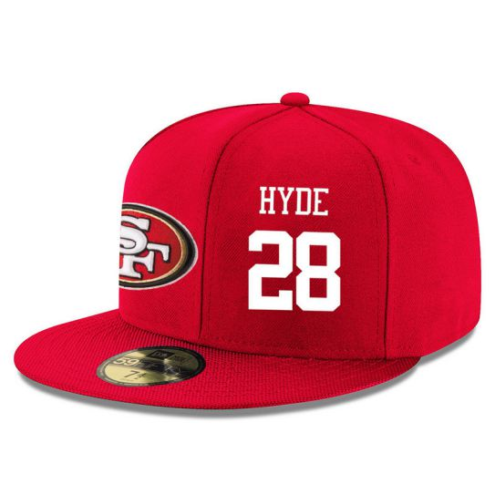 San Francisco 49ers 28 Hyde Red NFL Hat