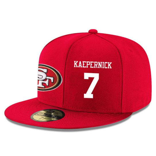 San Francisco 49ers 7 Kaepernick Red NFL Hat
