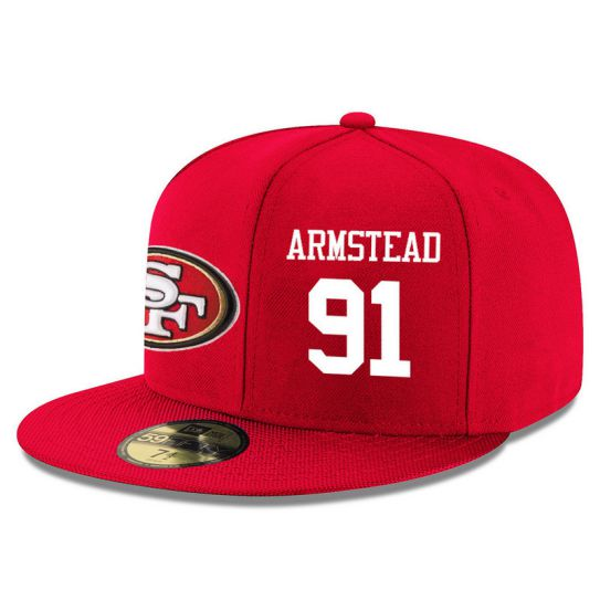 San Francisco 49ers 91 Armstead Red NFL Hat