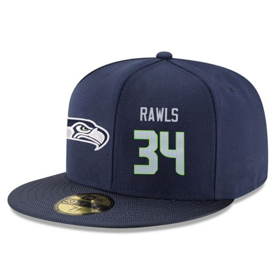 Seattle Seahawks 34 Rawls Blue NFL Hat