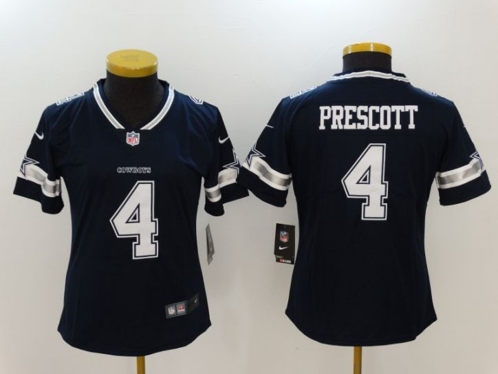 Women Dallas Cowboys 4 Prescott Blue Nike Vapor Untouchable Limited NFL Jerseys