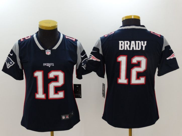 Women New England Patriots 12 Brady Blue Nike Vapor Untouchable Limited NFL Jerseys