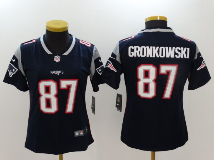 Women New England Patriots 87 Gronkowski Blue Nike Vapor Untouchable Limited NFL Jerseys