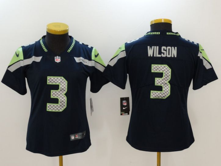 Women Seattle Seahawks 3 Wilson Blue Nike Vapor Untouchable Limited NFL Jerseys