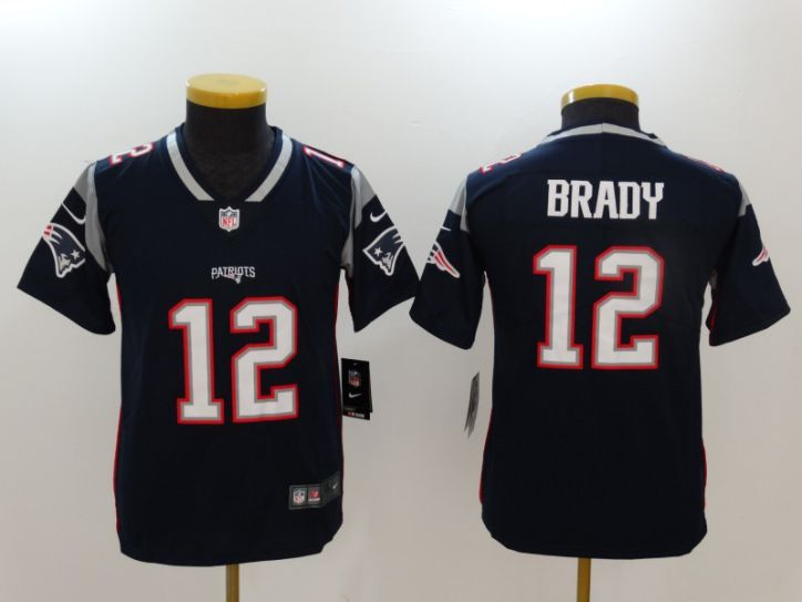 Youth New England Patriots 12 Brady Blue Nike Vapor Untouchable Limited NFL Jerseys
