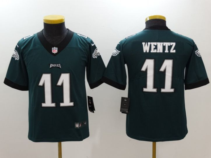 Youth Philadelphia Eagles 11 Wentz Green Nike Vapor Untouchable Limited NFL Jersey