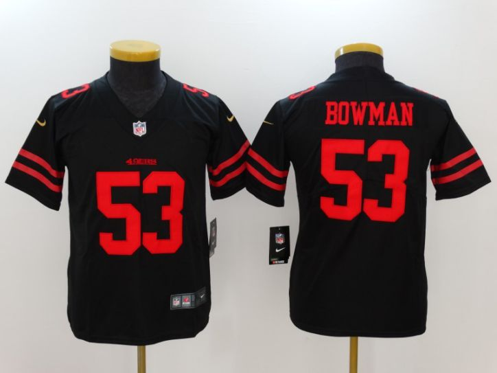 Youth San Francisco 49ers 53 Bowman Black Nike Vapor Untouchable Limited NFL Jersey