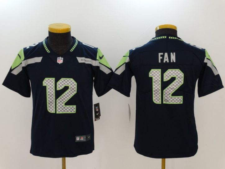 Youth Seattle Seahawks 12 Fan Blue Nike Vapor Untouchable Limited NFL Jerseys