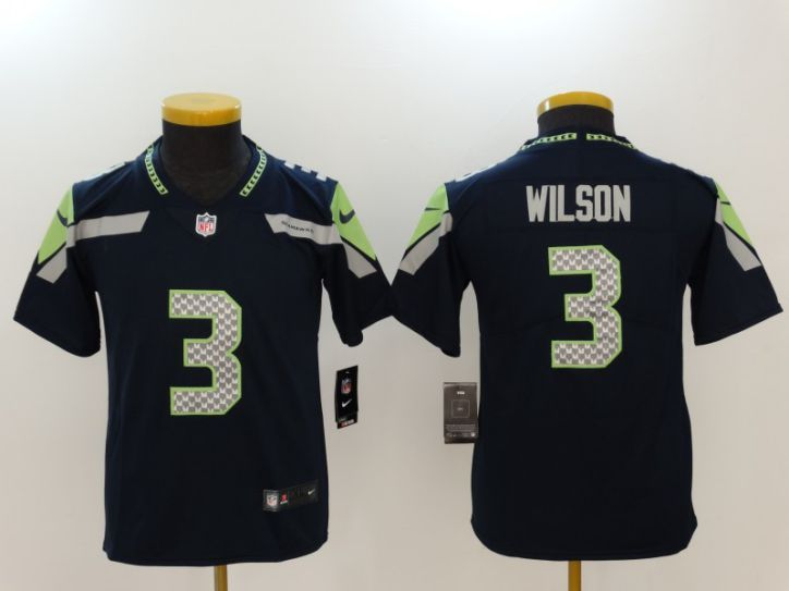Youth Seattle Seahawks 3 Wilson Blue Nike Vapor Untouchable Limited NFL Jerseys