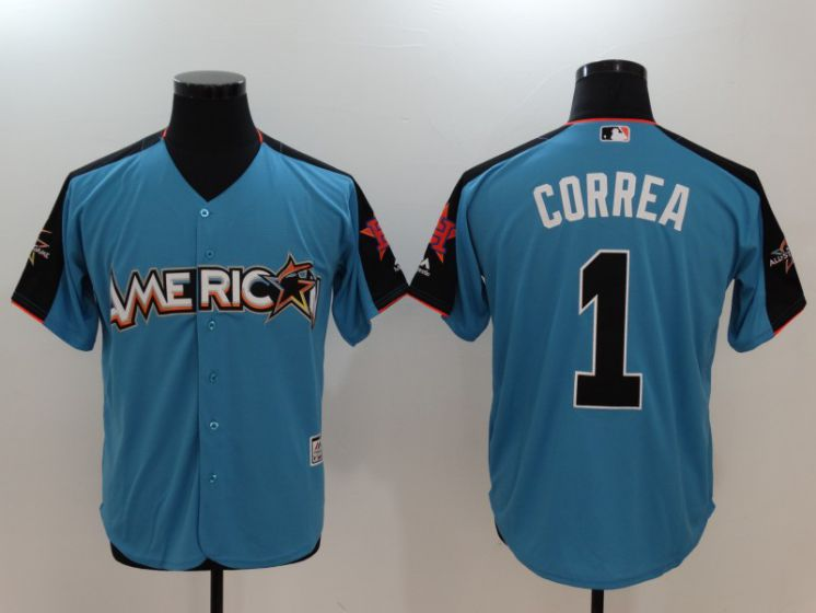 2017 MLB All-Star Houston Astros 1 Carlos Correa Blue Jerseys