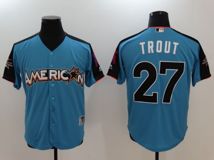 2017 MLB All-Star Los Angeles Angels 27 Mike Trout Blue Jerseys