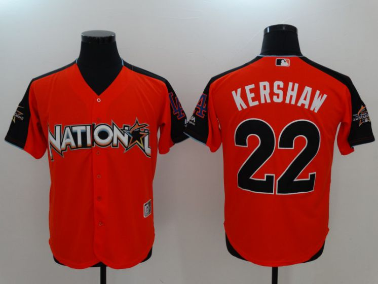 2017 MLB All-Star Los Angeles Dodgers 22 Kershaw Orange Jerseys
