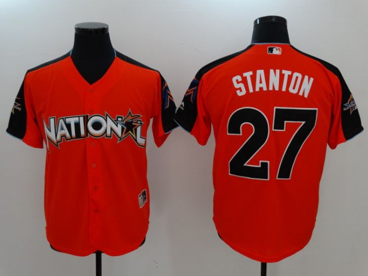 2017 MLB All-Star Washington Nationals 27 Stanton Orange Jerseys