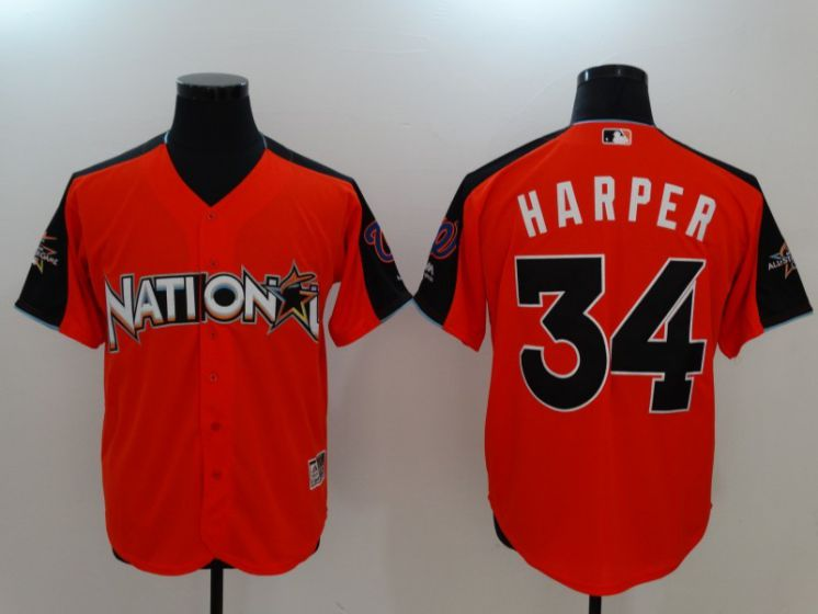 2017 MLB All-Star Washington Nationals 34 Bryce Harper Orange Jerseys
