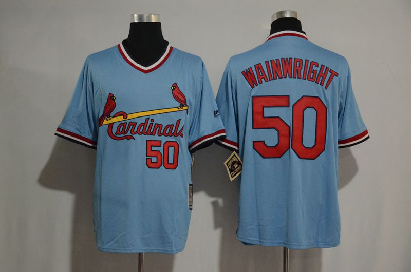 2017 MLB St Louis Cardinals 50 Adam Wainwr Blue jerseys