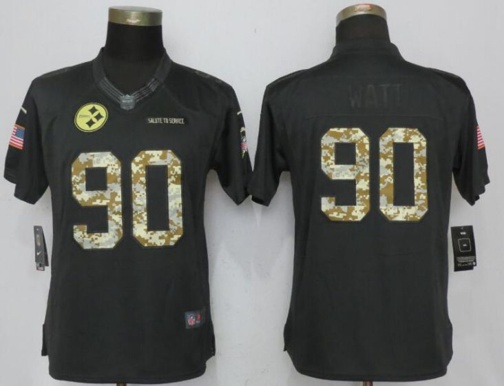 2017 NFL Women NEW Nike Pittsburgh Steelers 90 Watt Anthracite Salute To Service Limited Jersey