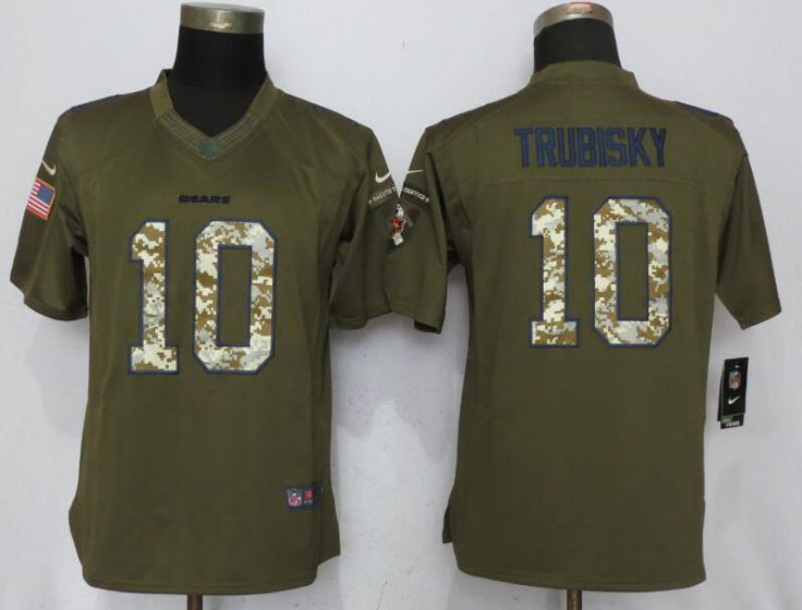 2017 NFL Women Nike Chicago Bears 10 Trubisky Green Salute To Service Limited Jersey