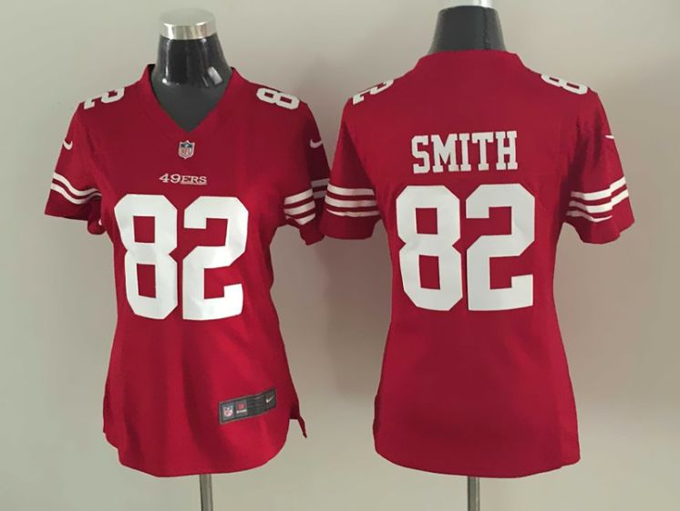 2017 NFL Women San Francisco 49ers 82 Smith Red Nike Jerseys