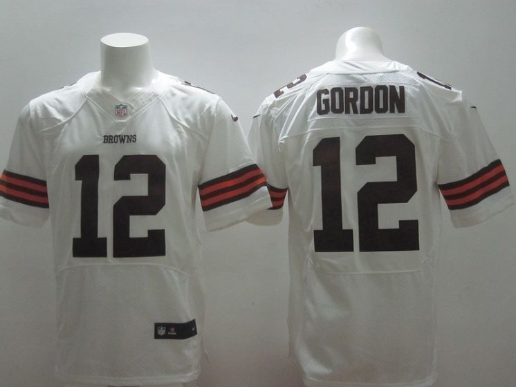 Cleveland Browns 12 Josh Gordon white Nike NFL Elite Jerseys