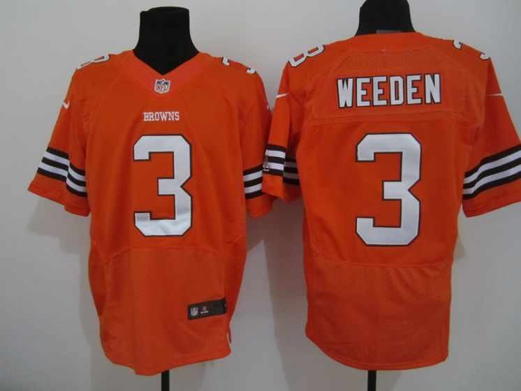 Cleveland Browns 3 Weeden Orange Nike NFL Elite Jersey