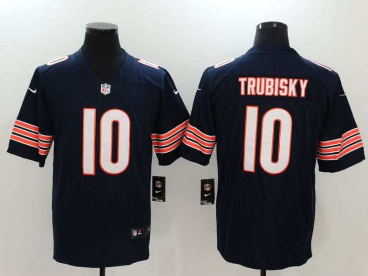 Men Chicago Bears 10 Trubisky Blue Nike Vapor Untouchable Limited NFL Jerseys