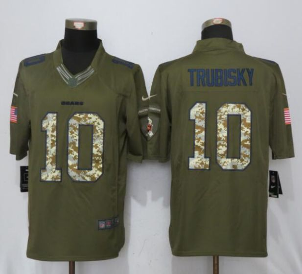 Men Chicago Bears 10 Trubisky Green Nike Salute To Service Limited NFL Jerseys