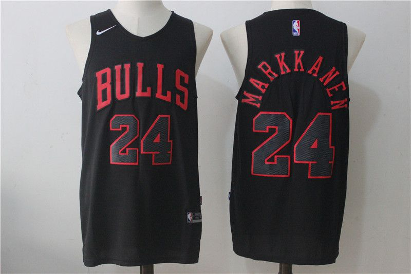 Men Chicago Bulls 24 Markkanen Black NBA Jerseys