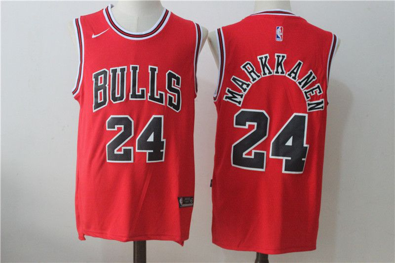 Men Chicago Bulls 24 Markkanen Red NBA Jerseys