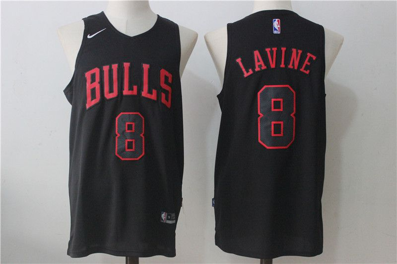 Men Chicago Bulls 8 Lavine Black NBA Jerseys