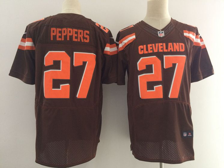 Men Cleveland Browns 27 Peppers Brown Elite Nike NFL Jerseys