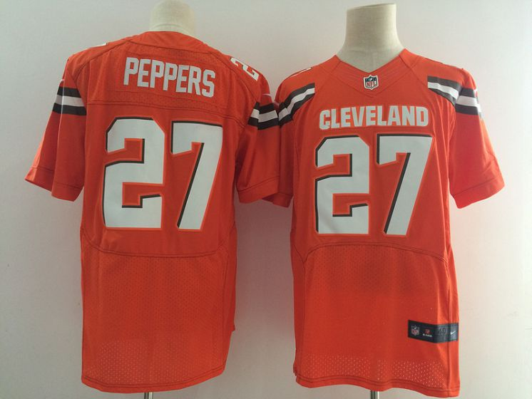 Men Cleveland Browns 27 Peppers Orange Elite Nike NFL Jerseys